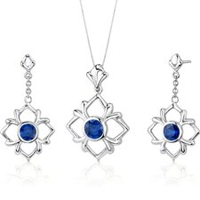 Floral Design 4.0 Carats Round Cut Sterling Silver Sapphire Pendant Earrings Set