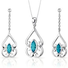 Ornate Style 2.75 Carats Marquise Cut Sterling Silver Swiss Blue Topaz Pendant Earrings Set