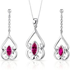Ornate Style Marquise Cut Sterling Silver Gemstone Pendant Earrings Set