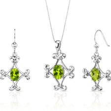 Cross Design 2.75 Carats Oval Shape Sterling Silver Peridot Pendant Earrings Set