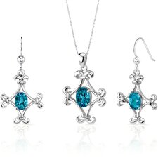 Cross Design 3.5 Carats Oval Shape Sterling Silver Swiss Blue Topaz Pendant Earrings Set