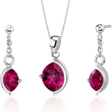 Museum Design 6 Carats Marquise Cut Sterling Silver Ruby Pendant Earrings Set