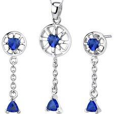 Dainty 2.5 Carats Trillion Heart Shape Sterling Silver Sapphire Pendant Earrings Set
