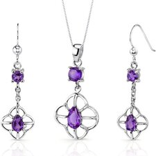 Dream Catcher Design Round Pear Shape Sterling Silver Gemstone Pendant Earrings Set