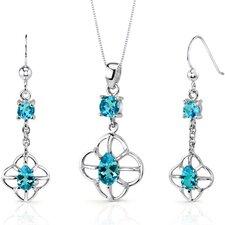Dream Catcher Design 3 Carats Round Pear Shape Sterling Silver Swiss Blue Topaz Pendant Earrings Set