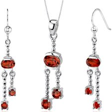 Charming 3.25 Carats Round Oval Shape Sterling Silver Garnet Pendant Earrings Set