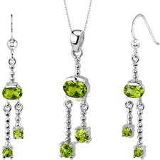 Charming 2.75 Carats Round Oval Shape Sterling Silver Peridot Pendant Earrings Set
