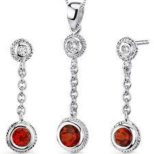 Bezel Set Round Shape Sterling Silver Gemstone Pendant Earrings Set