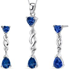 Enchanting 4 Carats Pear Heart Shape Sterling Silver Sapphire Pendant Earrings Set