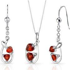 Love Duet 2 Carats Trillion Heart Shape Sterling Silver Garnet Pendant Earrings Set