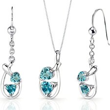 Love Duet 2 Carats Trillion Heart Shape Sterling Silver Swiss Blue Topaz Pendant Earrings Set