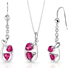 Love Duet 2.5 Carats Trillion Heart Shape Sterling Silver Ruby Pendant Earrings Set