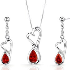 Heart Design 2 Carats Pear Shape Sterling Silver Garnet Pendant Earrings Set