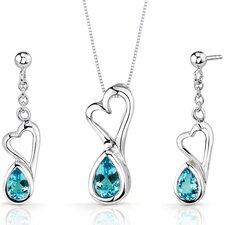 Heart Design 2 Carats Pear Shape Sterling Silver Swiss Blue Topaz Pendant Earrings Set