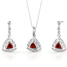 Filigree Design Trillion Cut Sterling Silver Gemstone Pendant Earrings Set