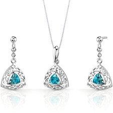 Filigree Design 1.5 Carats Trillion Cut Sterling Silver Swiss Blue Topaz Pendant Earrings Set