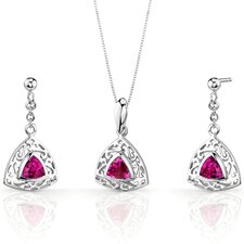 Filigree Design 1.5 Carats Trillion Cut Sterling Silver Ruby Pendant Earrings Set
