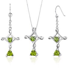 Cross Design 2.25 Carats Trillion Heart Cut Sterling Silver Peridot Pendant Earrings Set