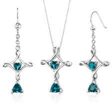 Cross Design 2.25 Carats Trillion Heart Cut Sterling Silver London Blue Topaz Pendant Earrings Set