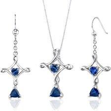 Cross Design 2.5 Carats Trillion Heart Cut Sterling Silver Sapphire Pendant Earrings Set