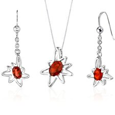 Starburst Oval Shape Sterling Silver Gemstone Pendant Earrings Set