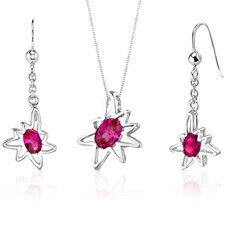 Starburst 2.25 Carats Oval Shape Sterling Silver Ruby Pendant Earrings Set