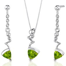 Museum Style Trillion Cut Sterling Silver Gemstone Pendant Earrings Set