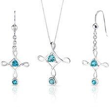 Cross Design 1.5 Carats Trillion Cut Sterling Silver Swiss Blue Topaz Pendant Earrings Set