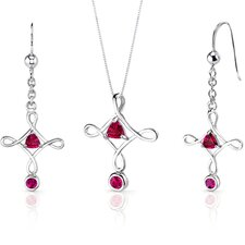 Cross Design 1.75 Carats Trillion Cut Sterling Silver Ruby Pendant Earrings Set