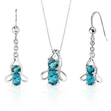 Bee Design 3.25 Carats Oval Round Cut Sterling Silver London Blue Topaz Pendant Earrings Set