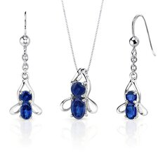 <strong>Oravo</strong> Bee Design 3.5 Carats Oval Round Cut Sterling Silver Sapphire Pendant Earrings Set