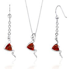 Contemporary Style 1.5 Carats Trillion Cut Sterling Silver Garnet Pendant Earrings Set