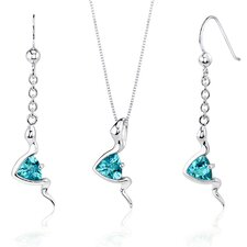 Contemporary Style 1.50 Carats Trillion Cut Sterling Silver Swiss Blue Topaz Pendant Earrings Set