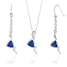 Contemporary Style 1.5 Carats Trillion Cut Sterling Silver Sapphire Pendant Earrings Set