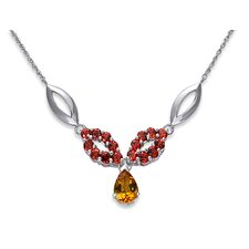 Gorgeous 4 Carats Pear and Round Shape Citrine and Garnet Multi-Gemstone Pendant Necklace in Sterling Silver