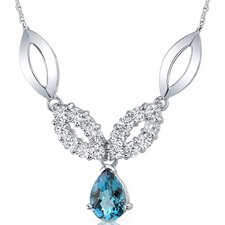 <strong>Oravo</strong> Gorgeous 2.25 Carats Pear Shape London Blue Topaz and White CZ Gemstone Pendant Necklace in Sterling Silver
