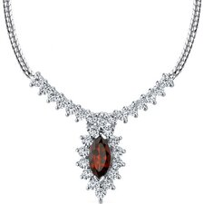 Majestic 1.75 Carats Total Weigh Marquise Shape Garnet and White CZ Gemstone Necklace in Sterling Silver