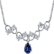 <strong>Oravo</strong> Unique Pear Shape Created Sapphire and White CZ Pendant Necklace in Sterling Silver