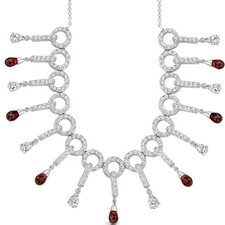 Dainty Chic 5.50 Carats Briolette Drop Garnet and White CZ Gemstone Necklace in Sterling Silver