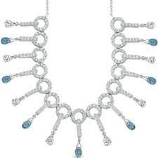Dainty Chic 5.00 carats Briolette Drop London Blue Topaz and White CZ Gemstone Necklace in Sterling Silver