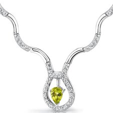 Stunningly Beautiful 0.75 carat Pear Shape Peridot and White CZ Gemstone Necklace in Sterling Silver