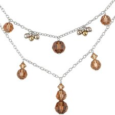 Chocolate Dream Two Tier Sterling Silver Charm Necklace with Swarovski Crystals and Cultured Pearls