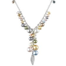 Spring Bouquet Sterling Silver Charm Necklace with Swarovski Cultured Pearls and Feather Charm