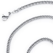 "0.1"" 316L Stainless Steel Diamond Cut Flat Double Curb Chain Necklace"