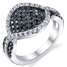 Sterling Silver Rhodium Finish Black and White CZ Pave Set