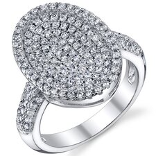 <strong>Oravo</strong> Sterling Silver Rhodium Finish Oval Machine Cut White CZ Dazzling Ring