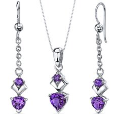 Gemstone Heart Shape Pendant Earrings Set