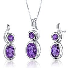 Oval Shape Gemstone Bezel Set Pendant Earrings Set