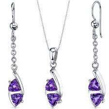 Trillion Cut Gemstone Refined Pendant Earrings Set