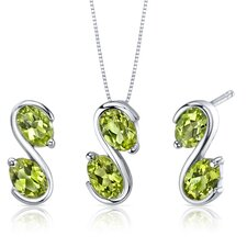 Oval Cut Gemstone Graceful Elegance Pendant Earrings Set